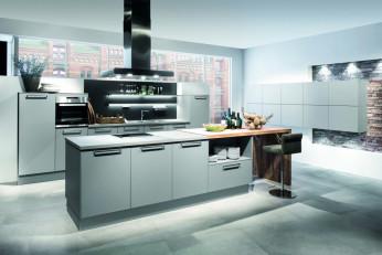 Moderne Küche mit Steindekor